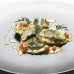 « Tortelli » Farcis à la Dorade Royale, Jus de Cuisson au Safran et Truffe Noire